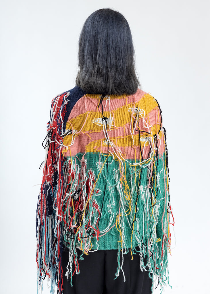 Multicolor Artwork Sweater with Fringe Tassels