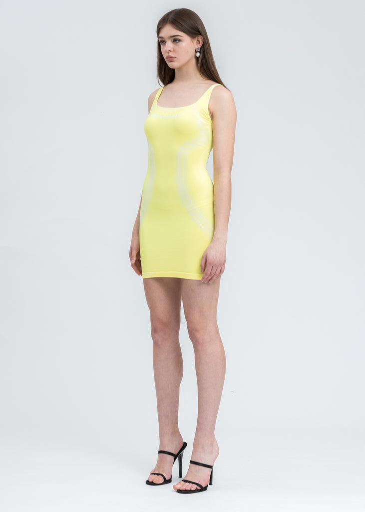 Yellow And White Sport Active Dress