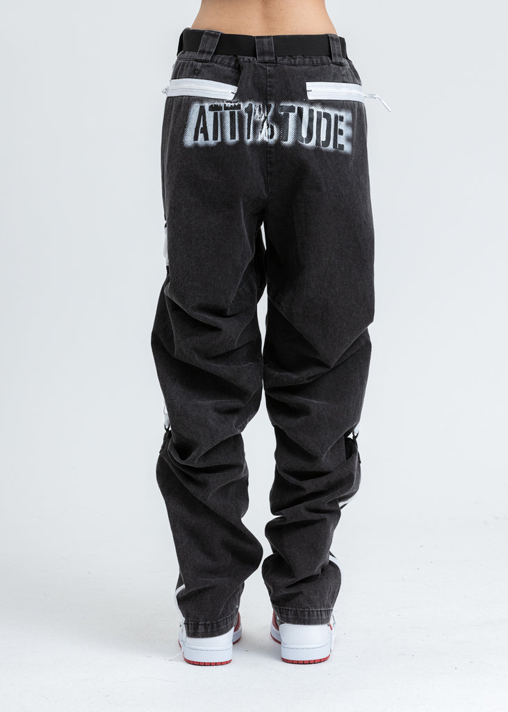 Black WASHING D-RING Pants