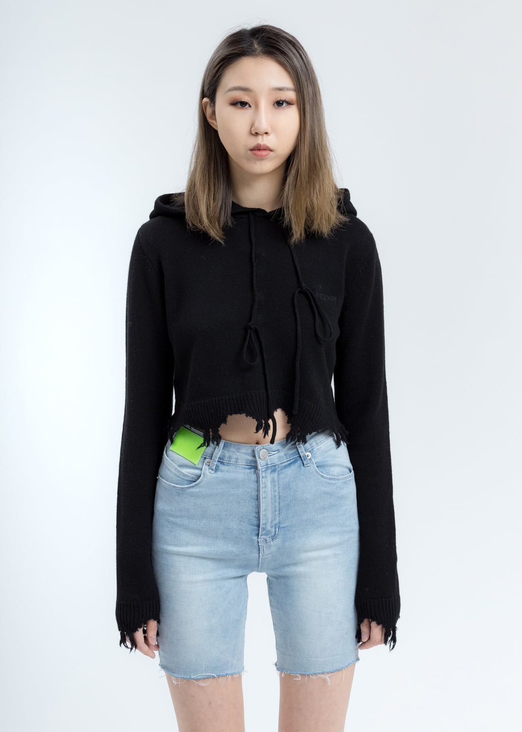 Black Destroyed Cropped Hoodie