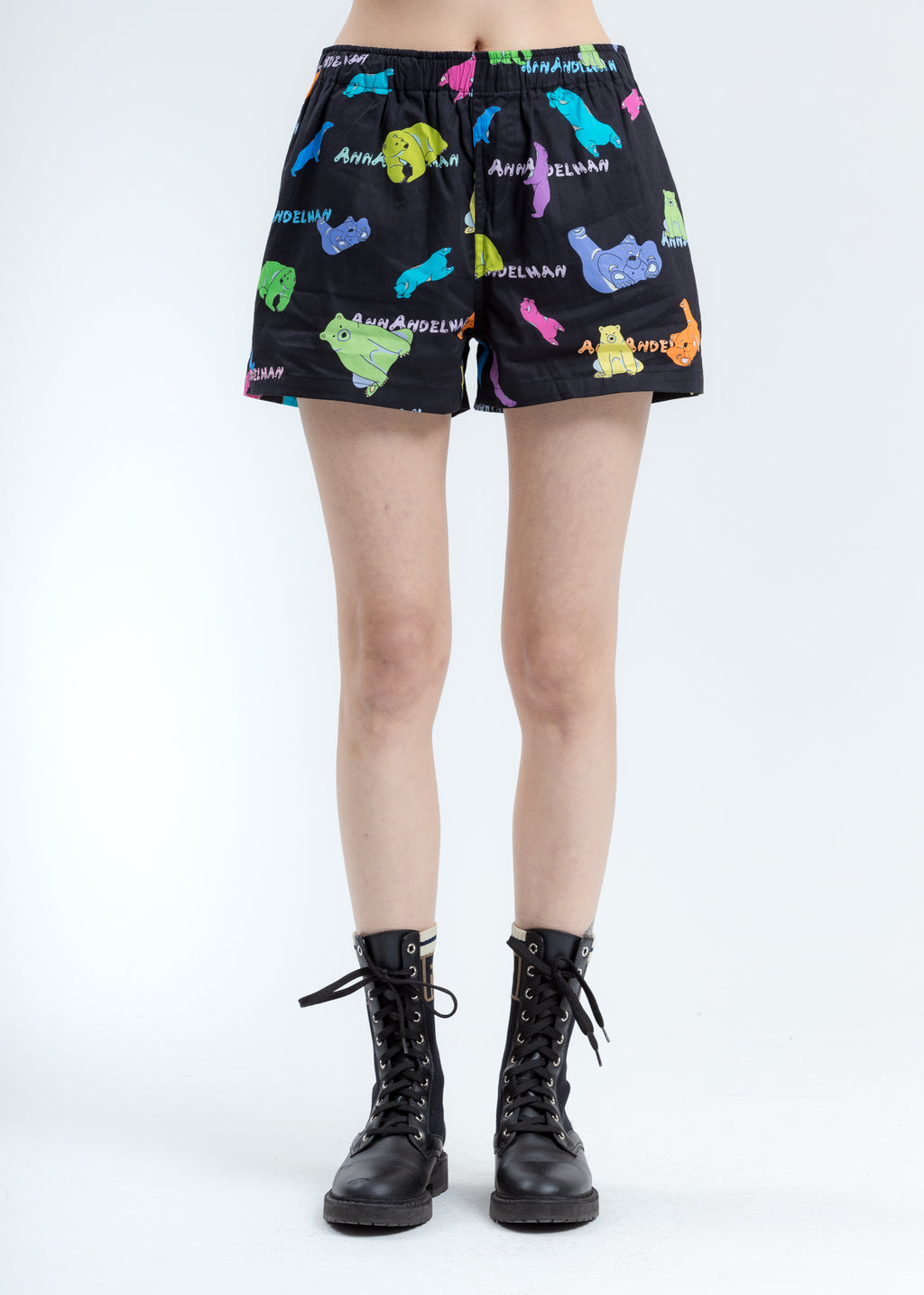 Black Multicolor Polar Bear Shorts