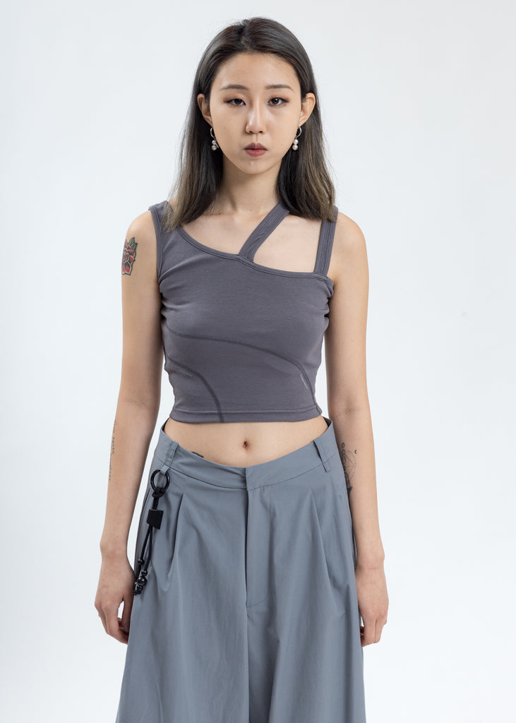 Grey Asymmetrical Tank Top