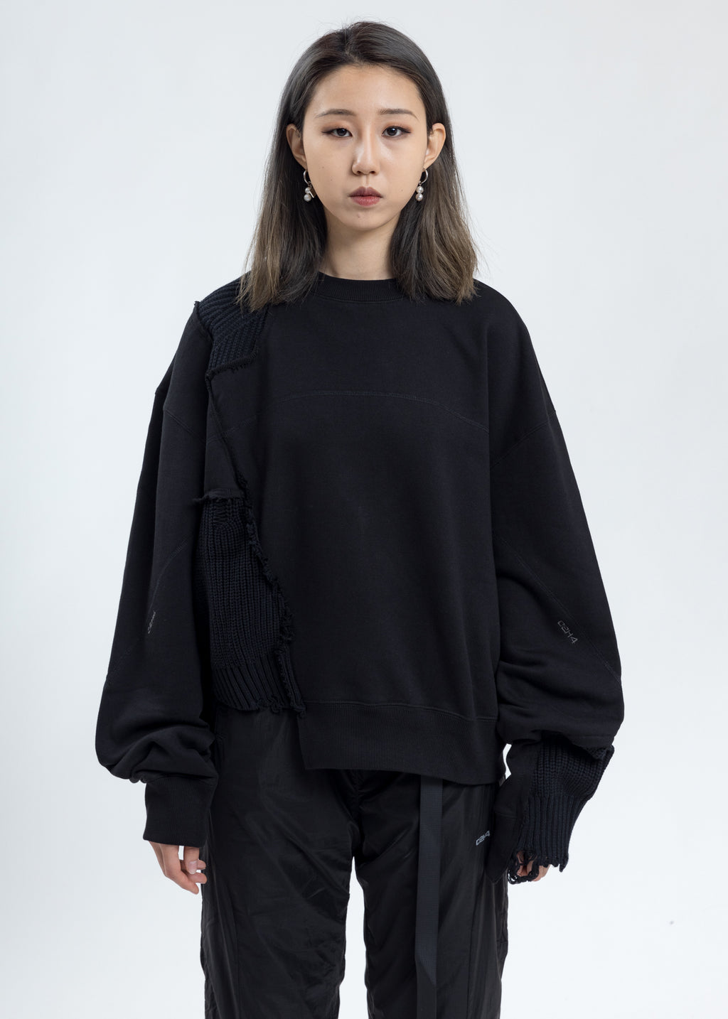Black Distressed Paneled Crewneck