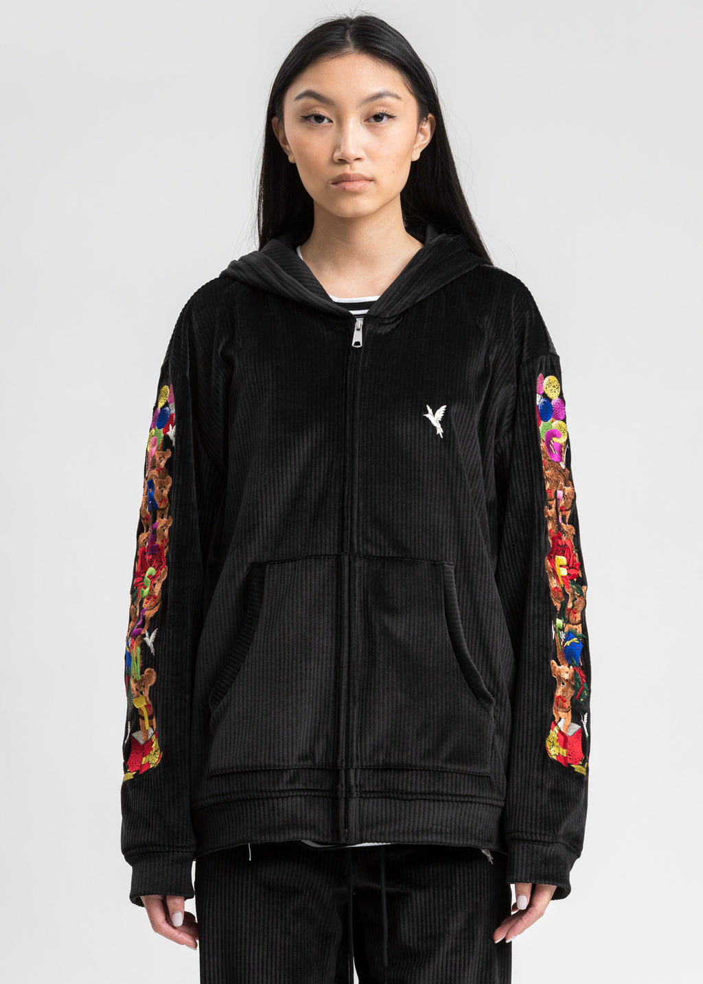 Black Chaos Embroidery Comfy Zip Up Hoodie