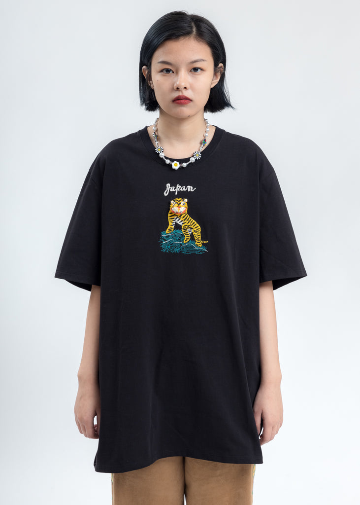 Black Puppet Animal Embroidery T-Shirt