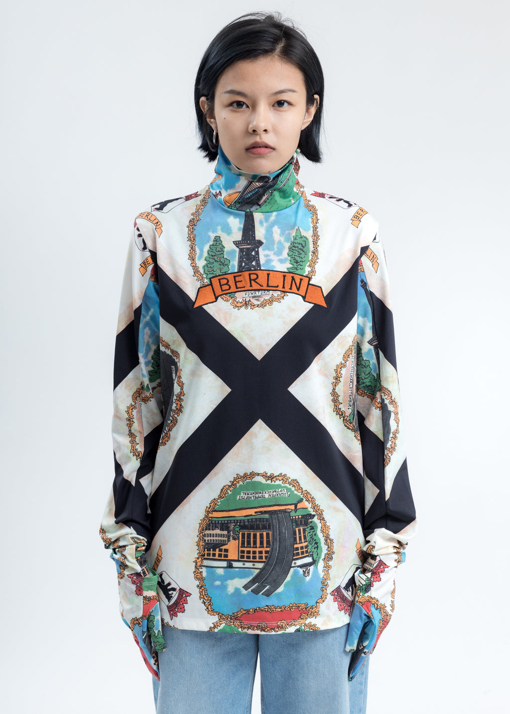 Berlin Scarf Printed Long Sleeve Shirt