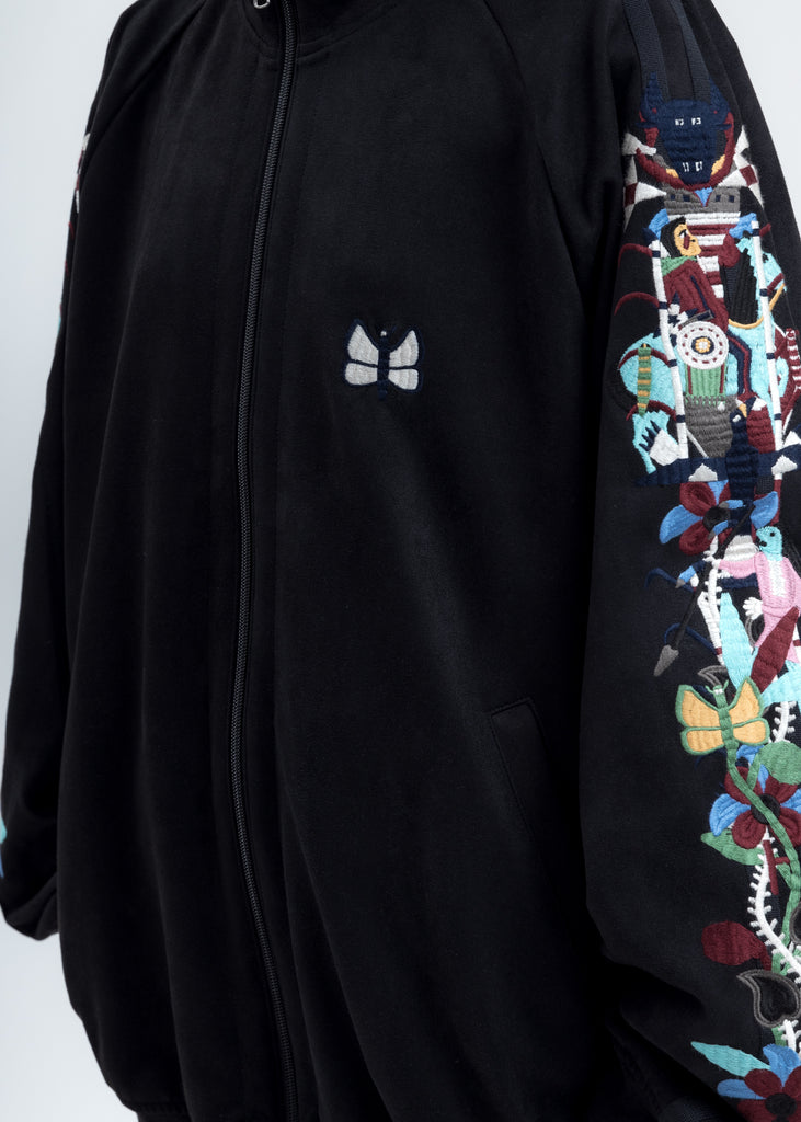 Black Chaos Embroidery Suede Track Jacket