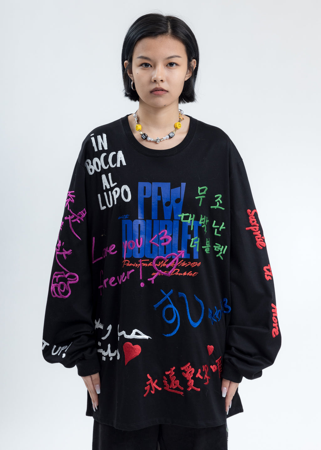 Black Message Embroidery Long Sleeve