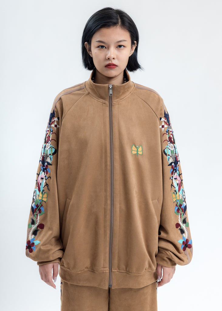 Camel Chaos Embroidery Suede Track Jacket