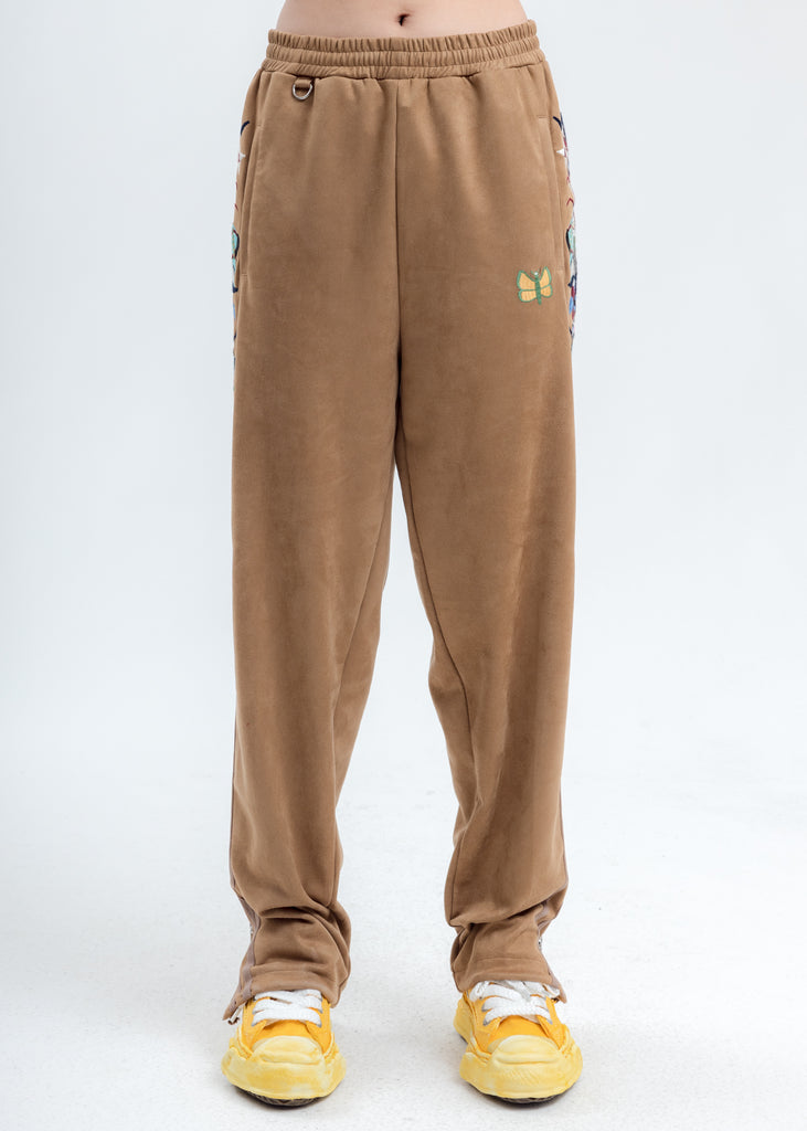 Camel Chaos Embroidery Suede Track Pants