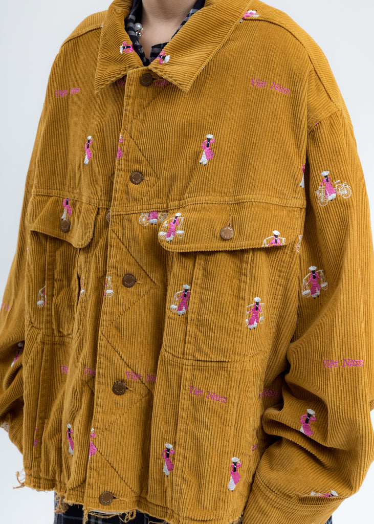 Camel Vietnam Embroidery Courduroy Jacket