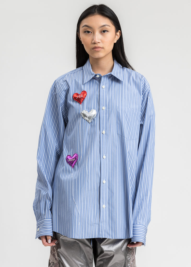 Light Blue Happy Balloons Stripe Shirt