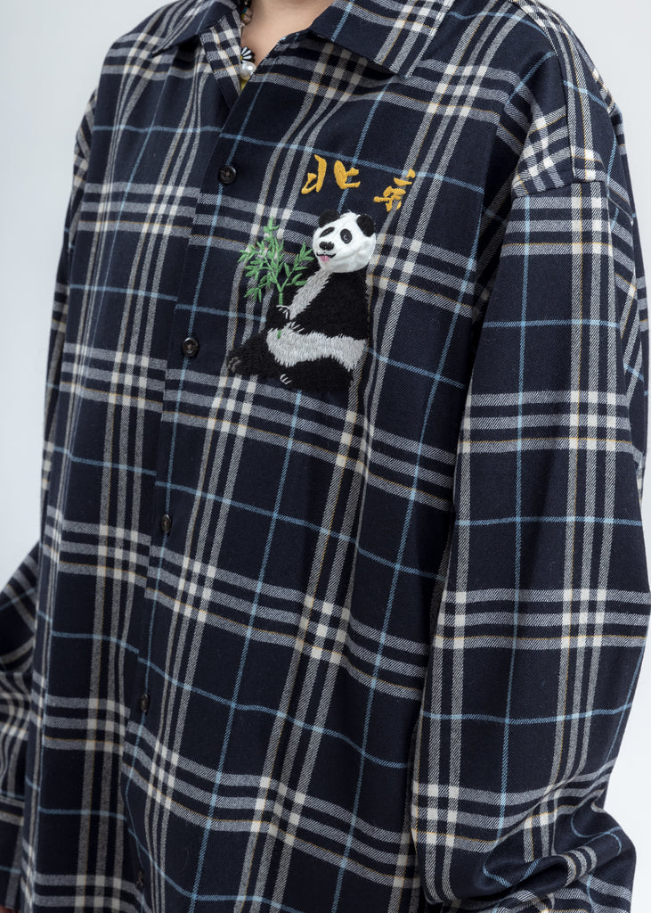 Navy Puppet Animal Embroidery Check Shirt