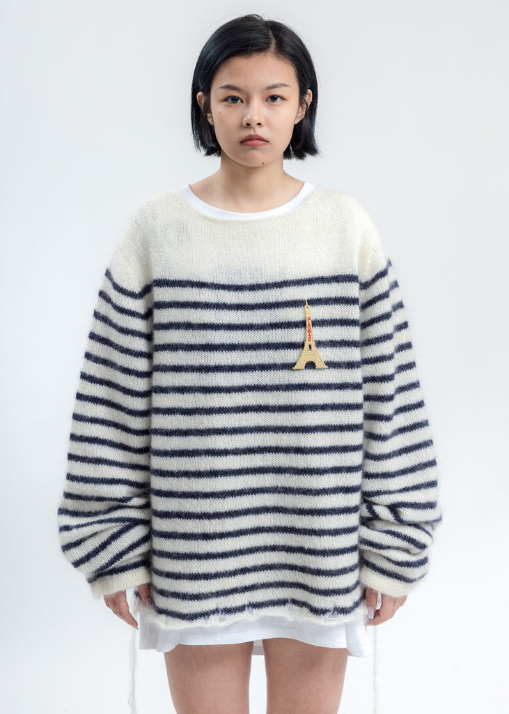 Navy Stripes French Border Mohair Pullover