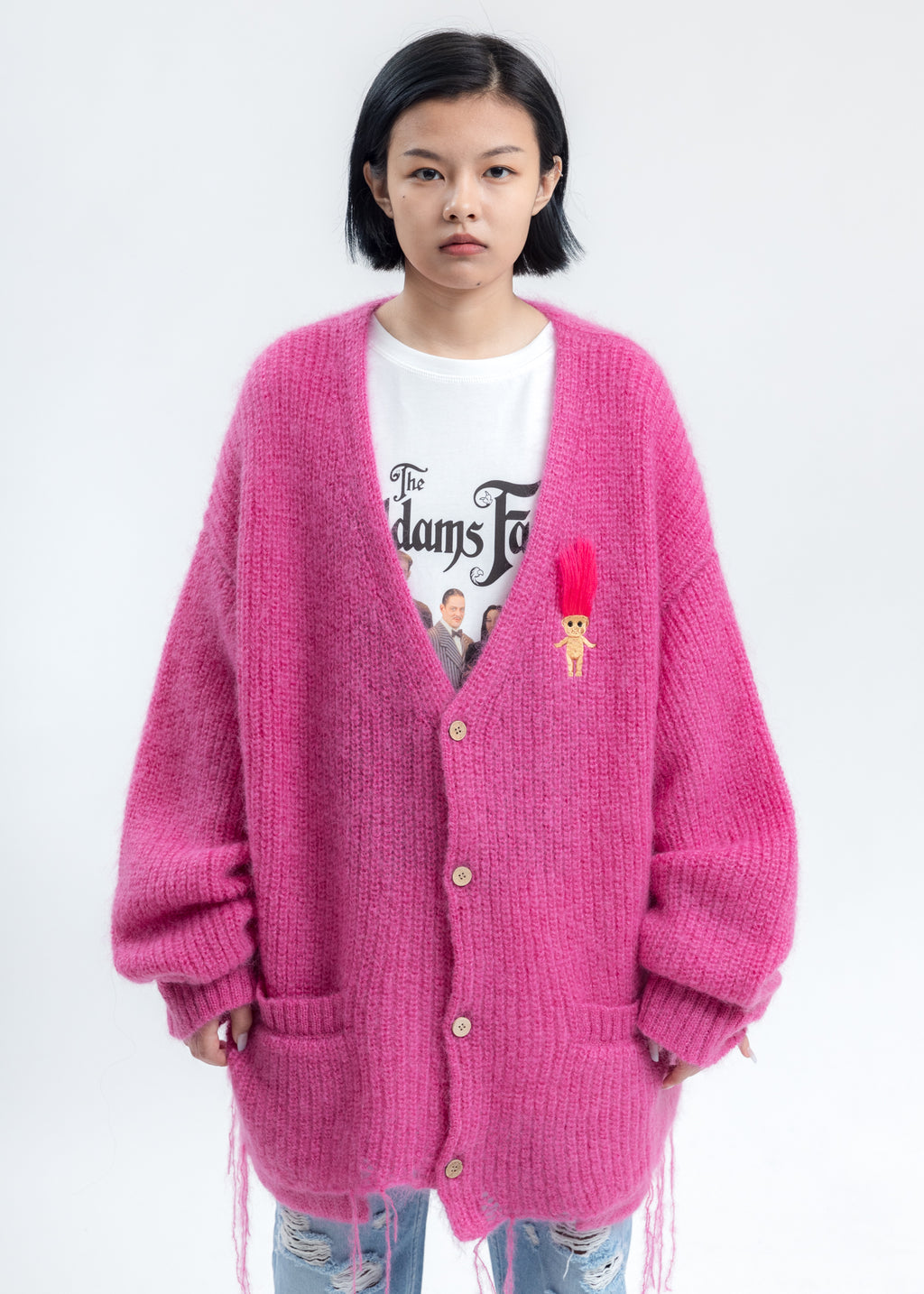 Pink Doll Embroidery Mohair Cardigan