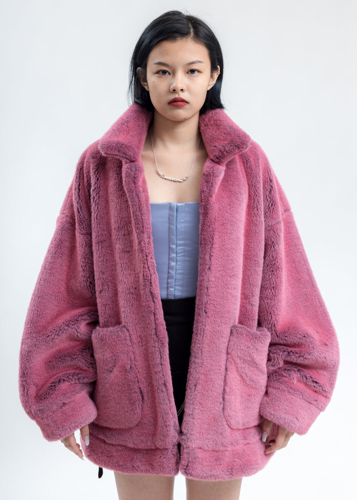 Pink Hand-Painted Fur Jacket