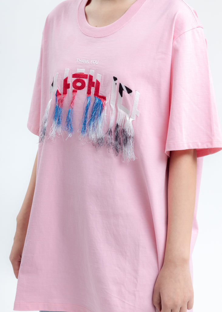 Pink Thank You Fringe Embroidery T-Shirt