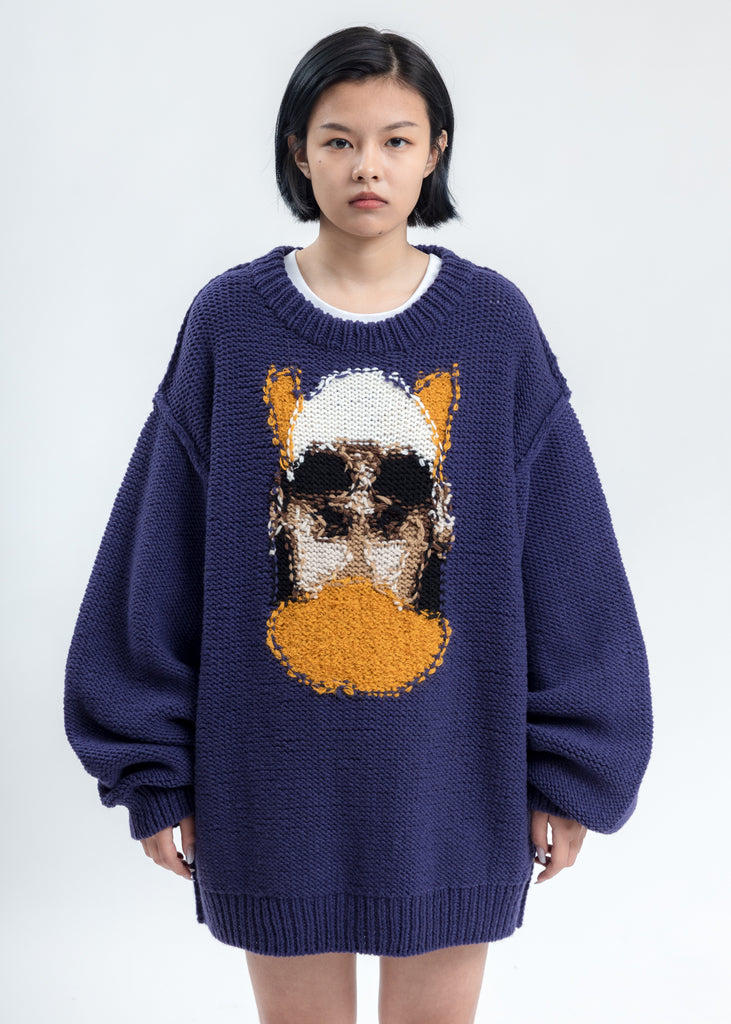 Purple Hand-Knitting Jacquard Pullover
