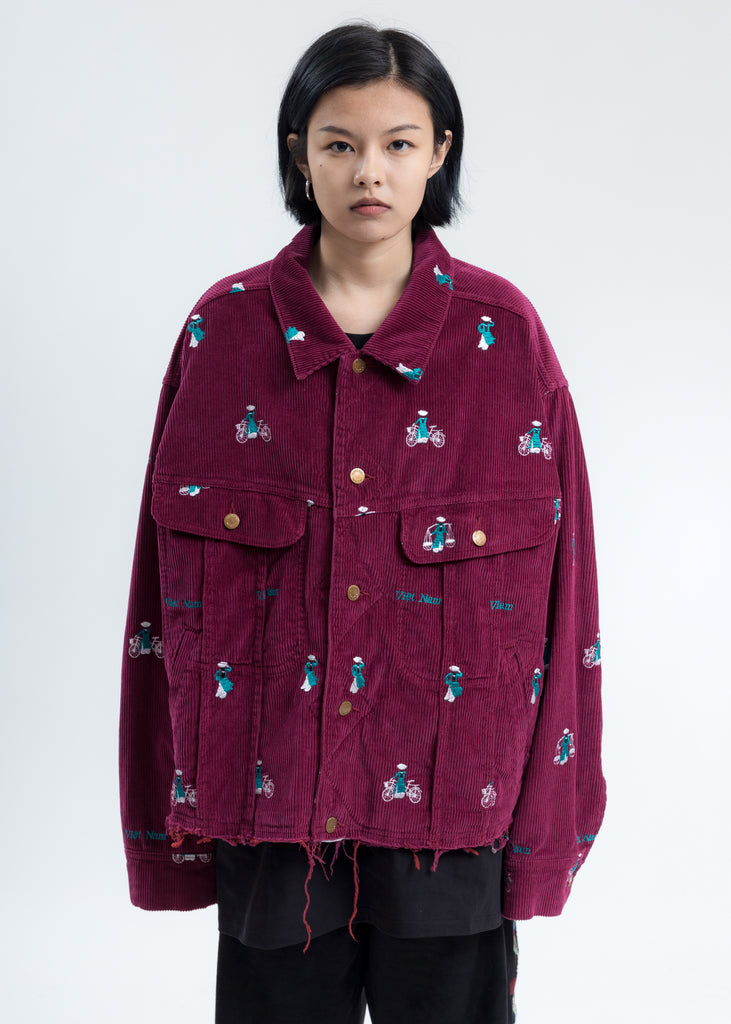 Pink Vietnam Embroidery Courduroy Jacket