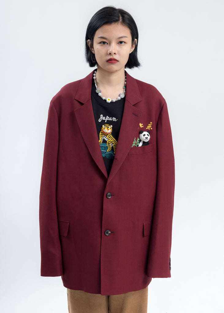 Red Puppet Animal Embroidery Jacket