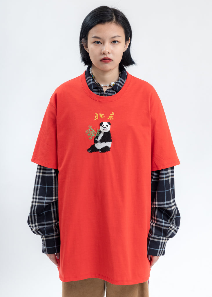 Red Puppet Animal Embroidery T-Shirt