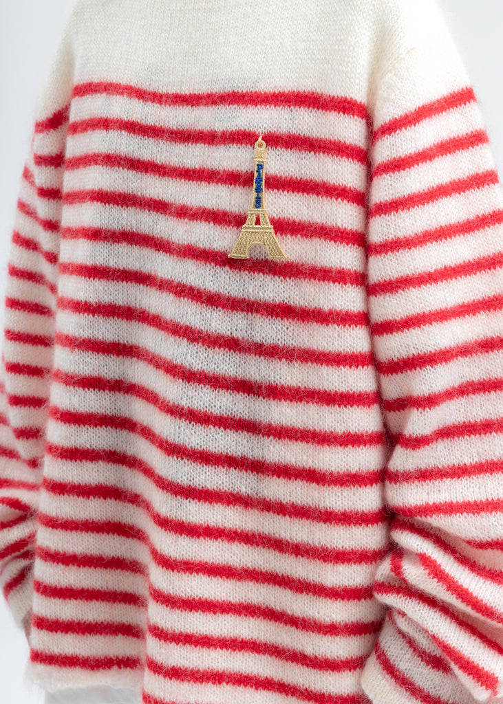 Red Stripes French Border Mohair Pullover