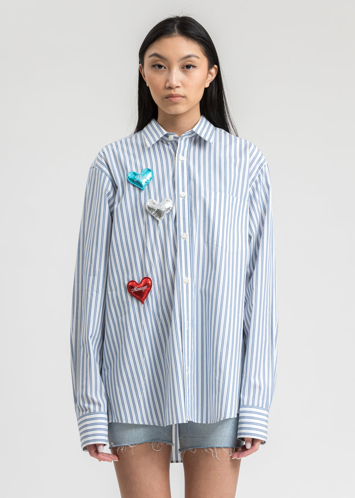 White Happy Balloons Stripe Shirt