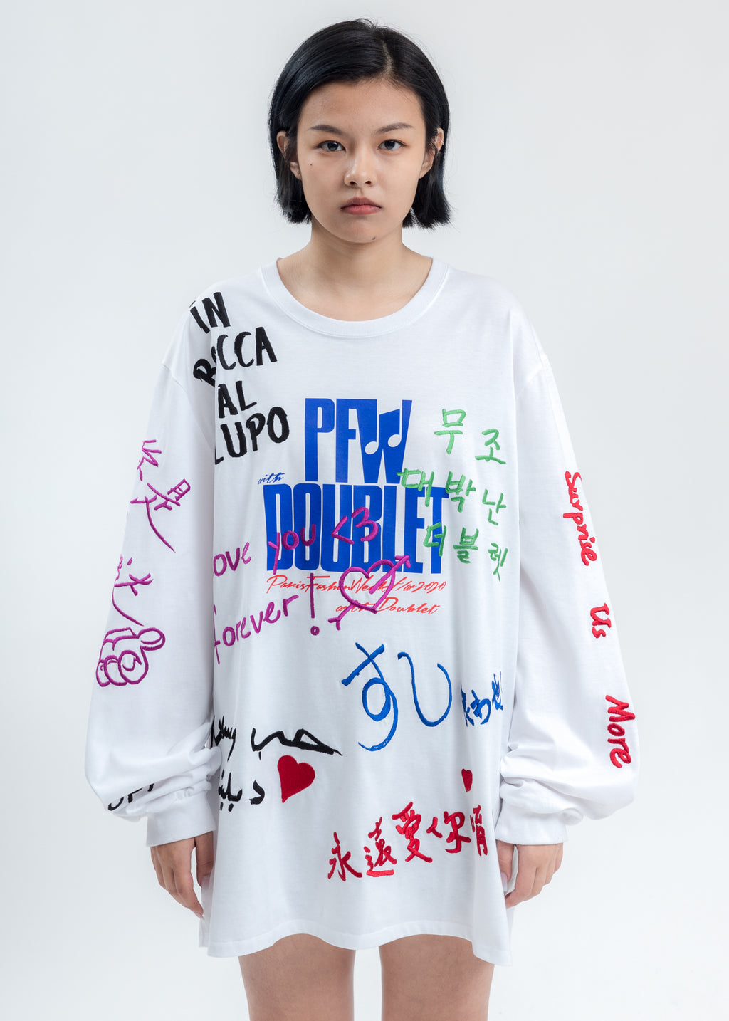 White Message Embroidery Long Sleeve
