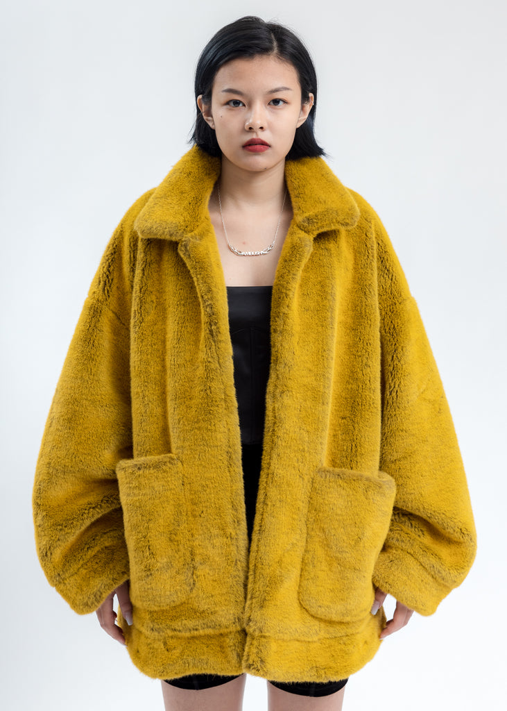 Yellow Hand-Painted Fur Jacket