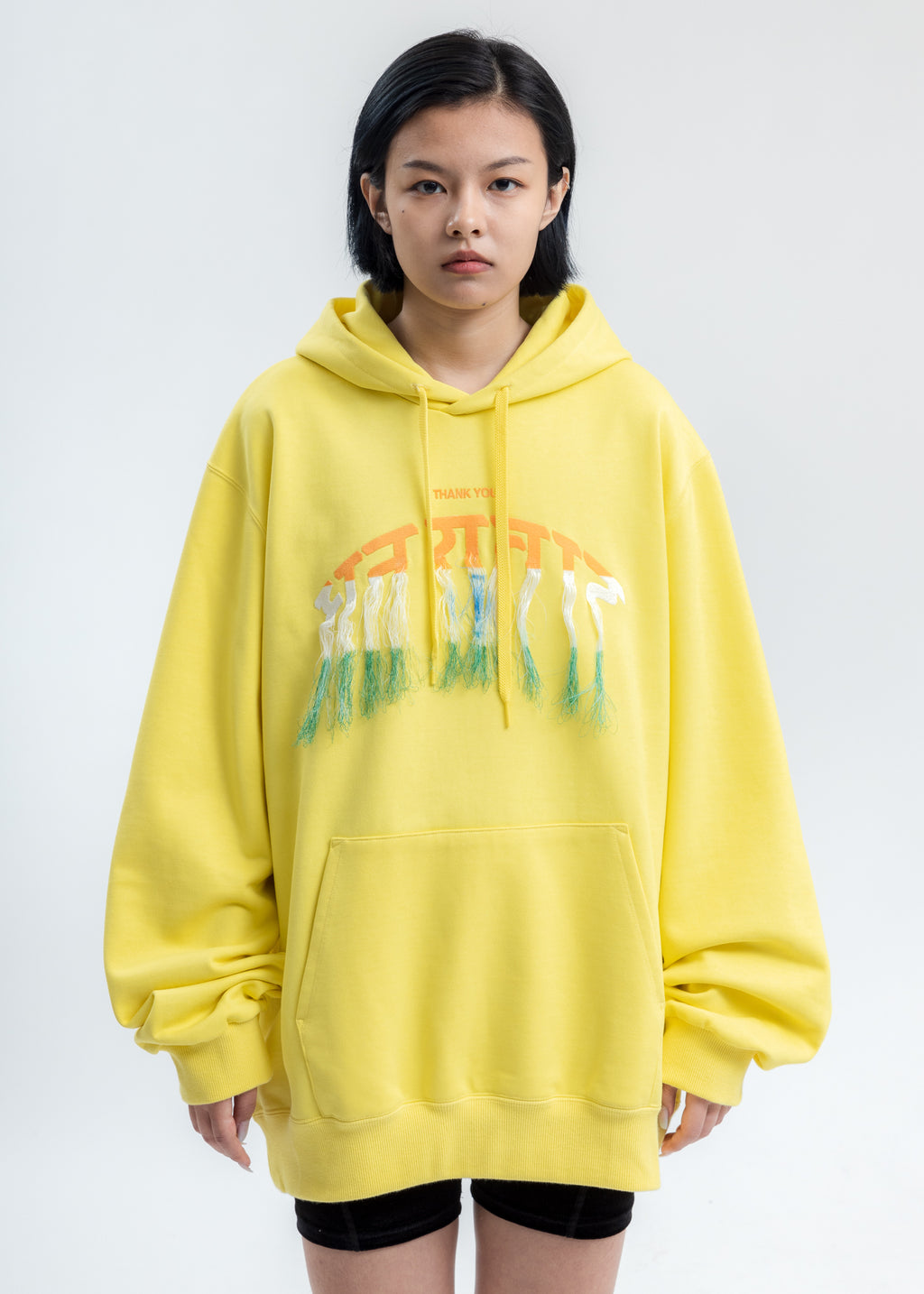 Yellow Thank You Fringe Embroidery Hoodie