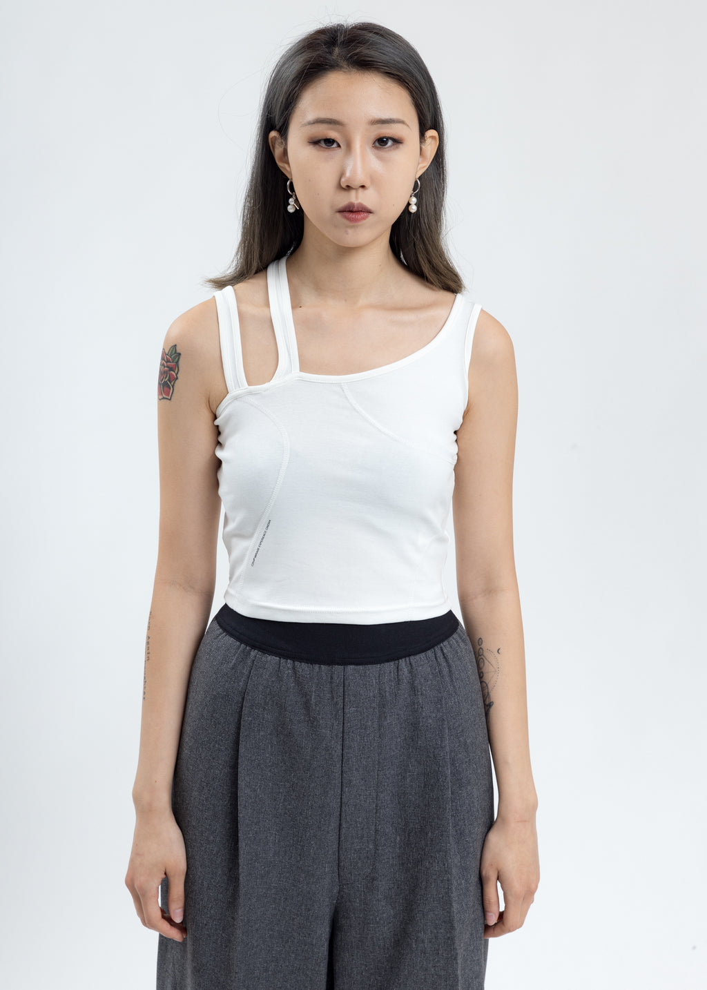 White Asymmetrical Tank Top