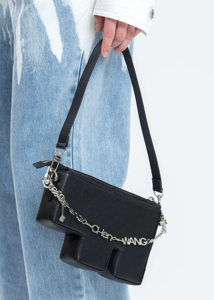 Black Faux Leather F Bag