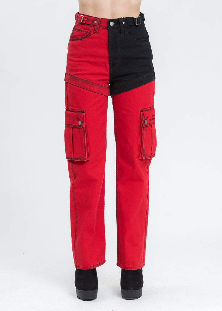 Red and Black Levi's Edition Denim Twill High Straight Loose Jeans
