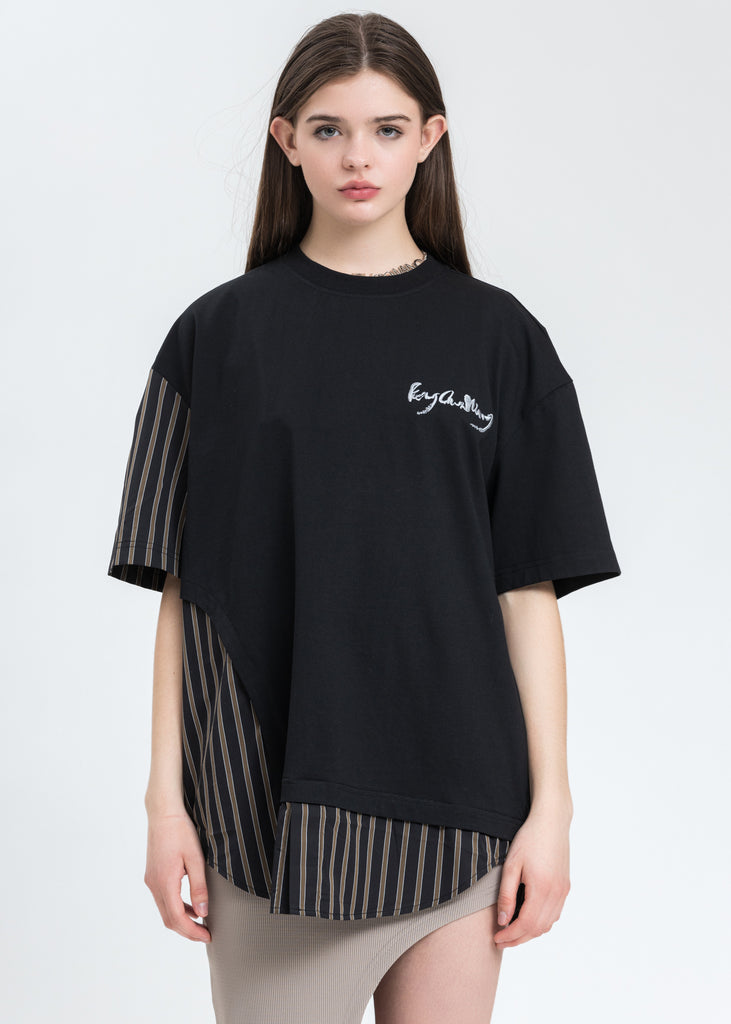 Black with Stripe Paneled T-Shirt