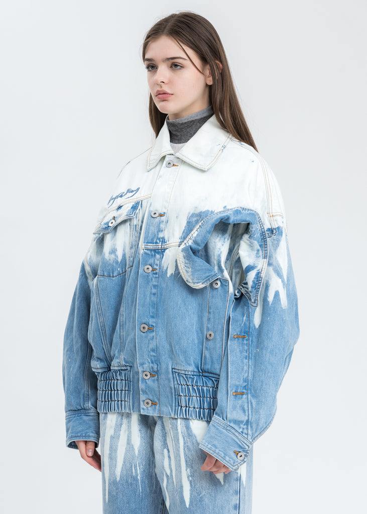 Blue and White Layered Denim Jacket