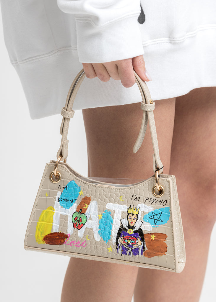 Beige Paint Minny Leather Bag -Evil Queen