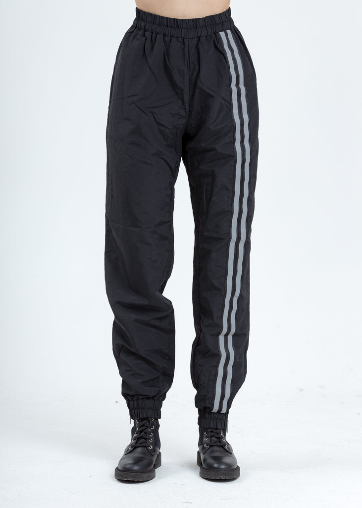 Black Double Stripe Nylon Trackpants