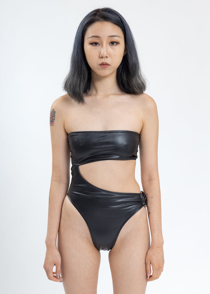Black O-Ring One Piece Swimsuit