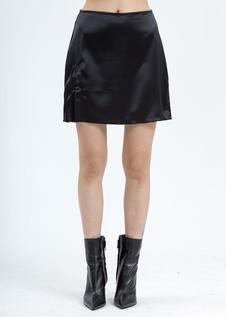 Black Satin Slit Miniskirt