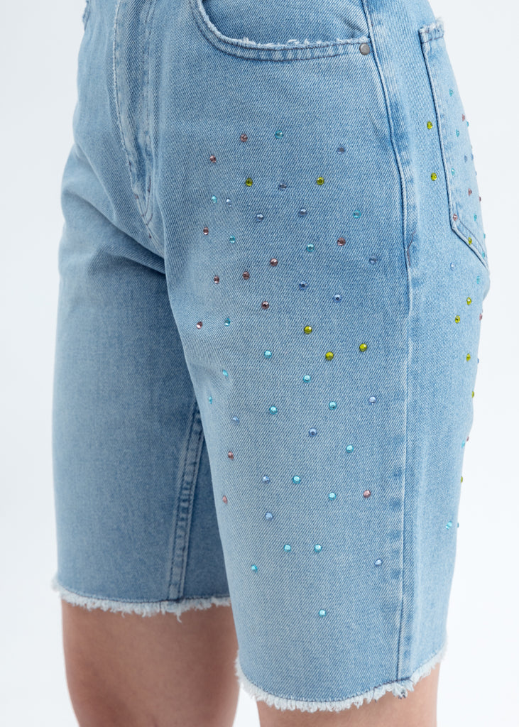 Blue Denim Embellished Shorts