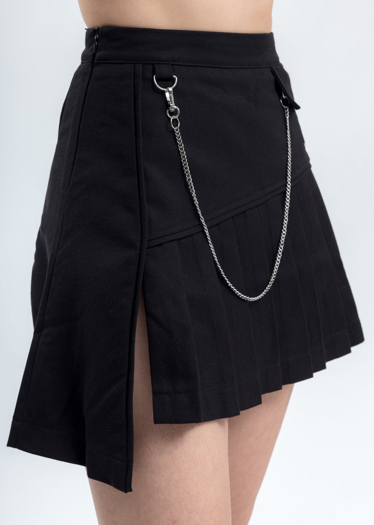 Black Asymmetrical Tennis Skirt