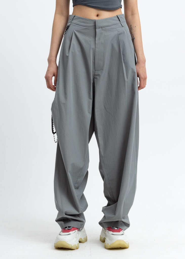 Ash Green Chained Wide Pants