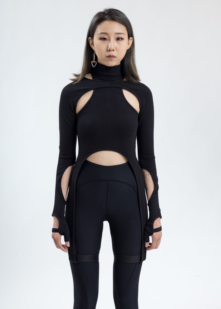 Black Jersey Top With Long Sleeve