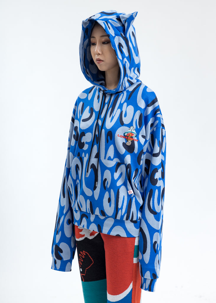 Blue Hand-drawn Monster Print Hoodie with Ears
