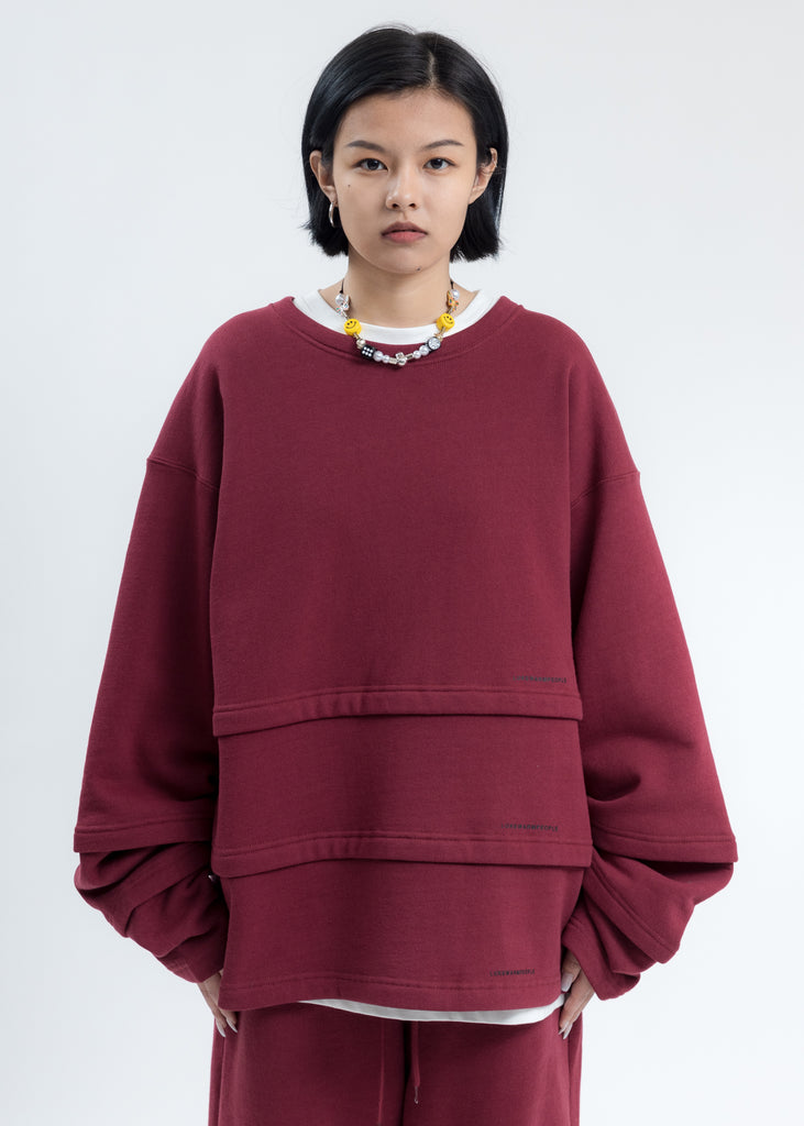 Burgundy Triple Layer Sweatshirt