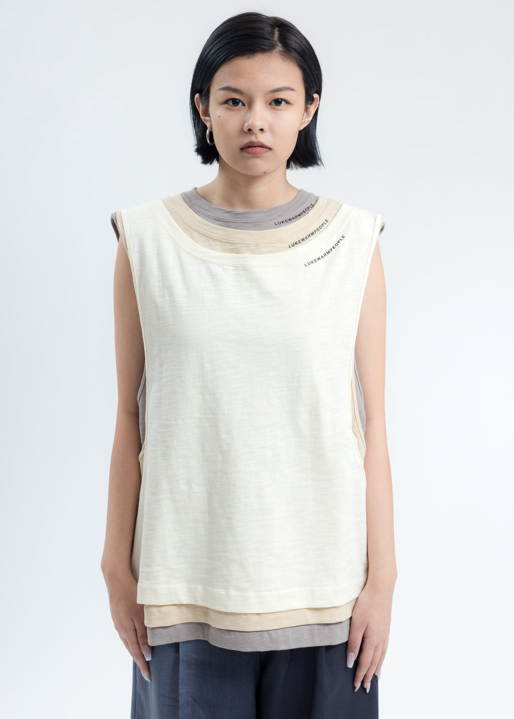 Cream Triple Layer Muscle Tee