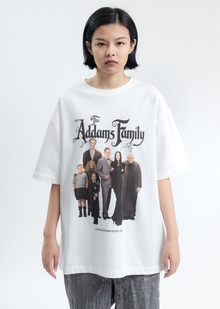 White Addam's Family Photo Print Tee
