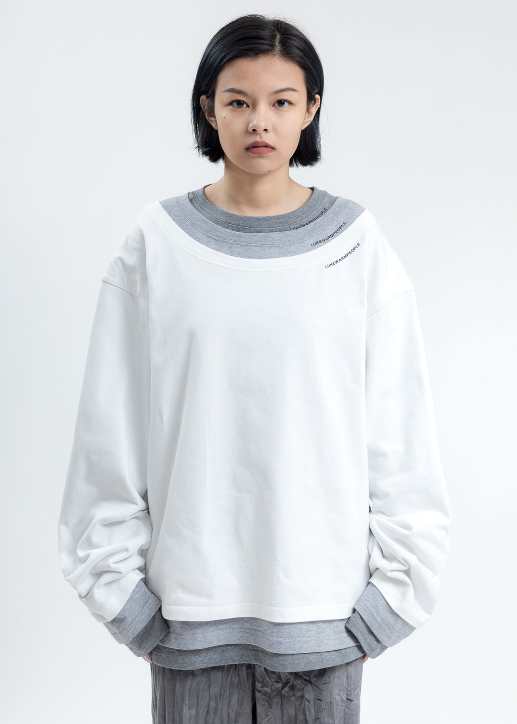 White Triple Layer Crewneck