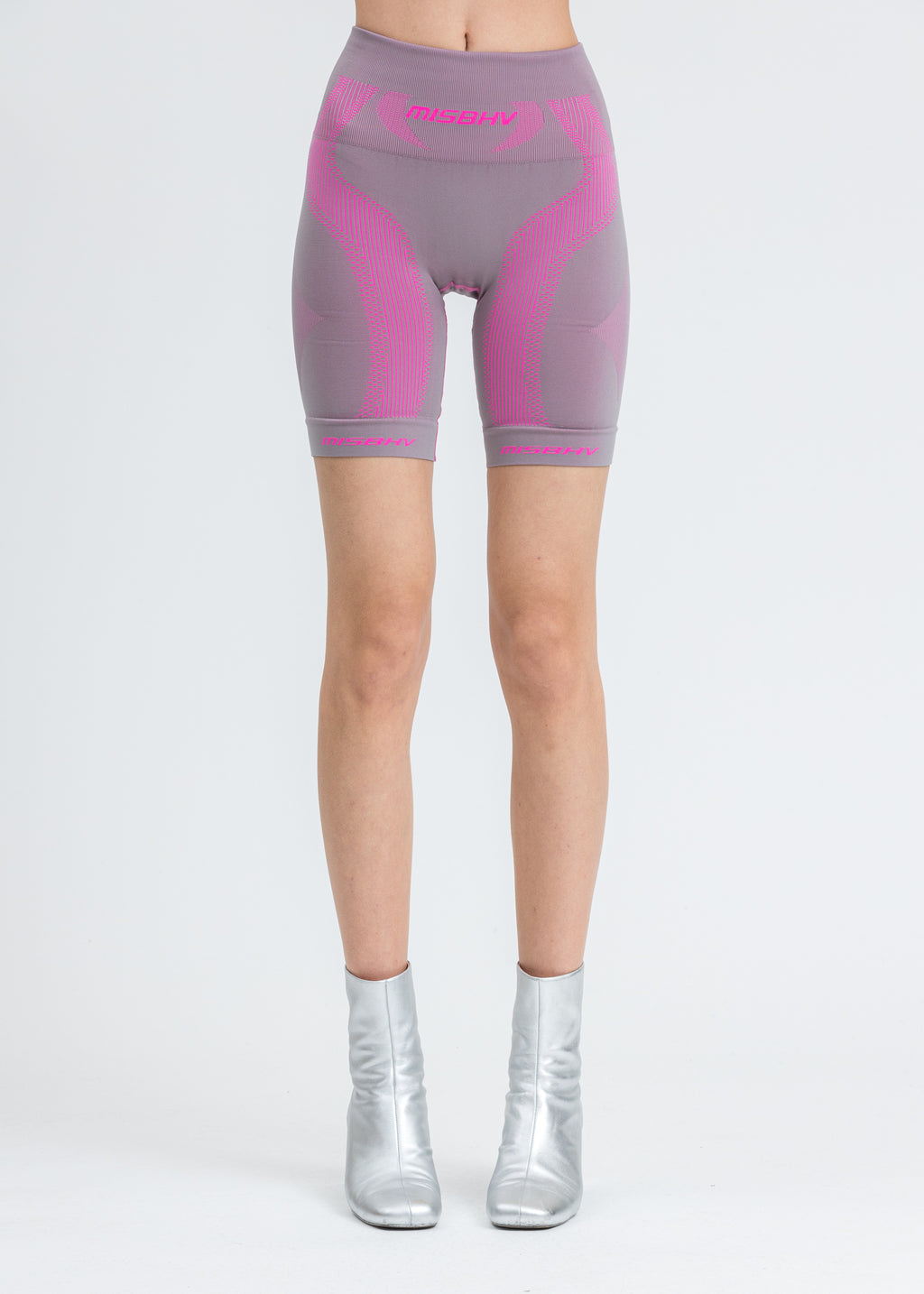 Grey & Neon Pink Sport Active Shorts