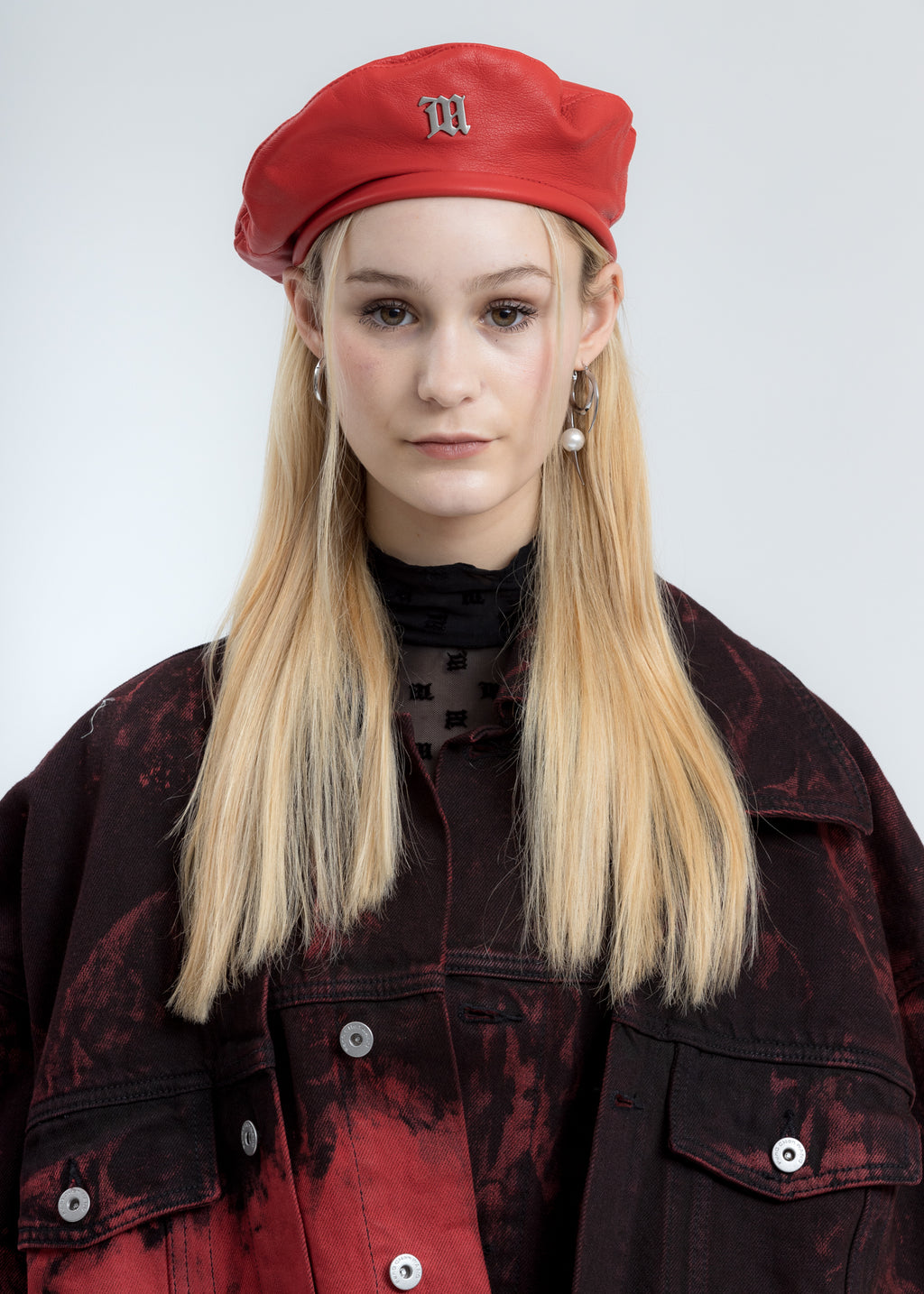 Red Vegan Leather Beret